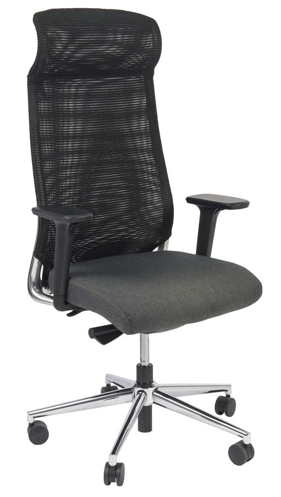 high black chair with mesh back