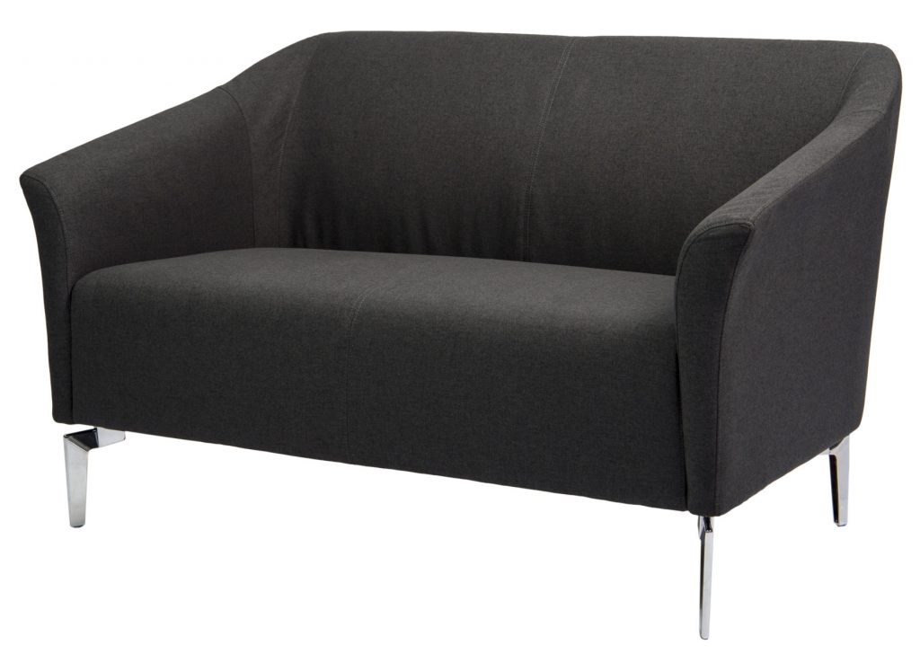 black two seat sofa with chrome legs