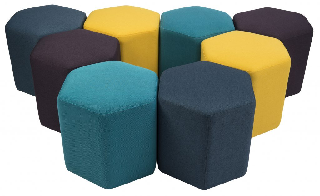 eight hexagon shaped ottomans in black, yellow and green colour