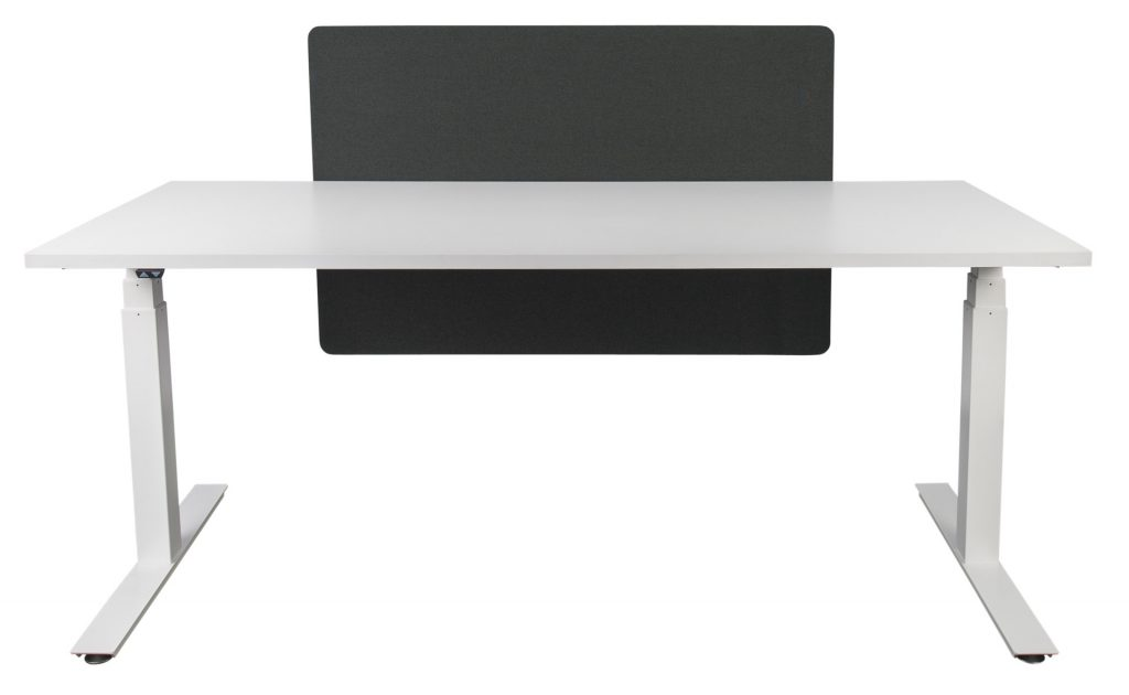 desk mounted screen table with fixing brackets black