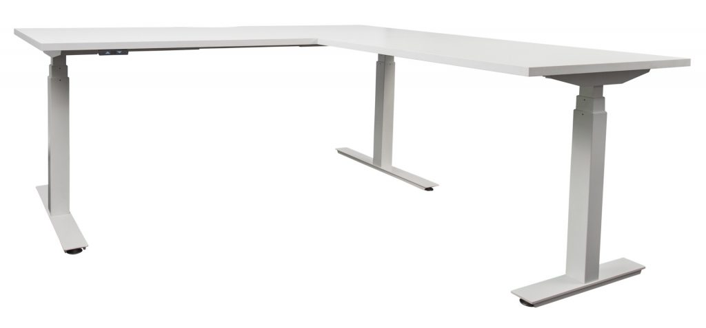 white sit to stand L shaped desk