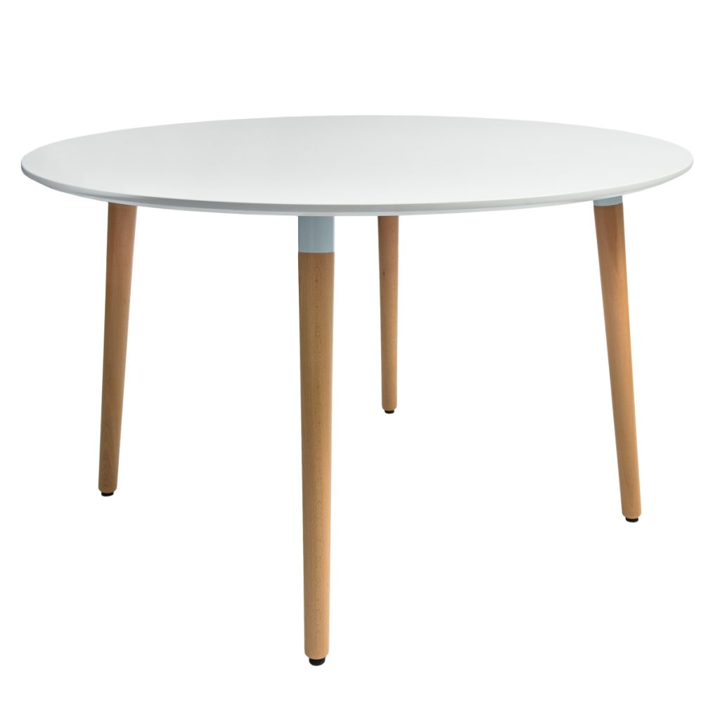 round dining table with timber legs and white top