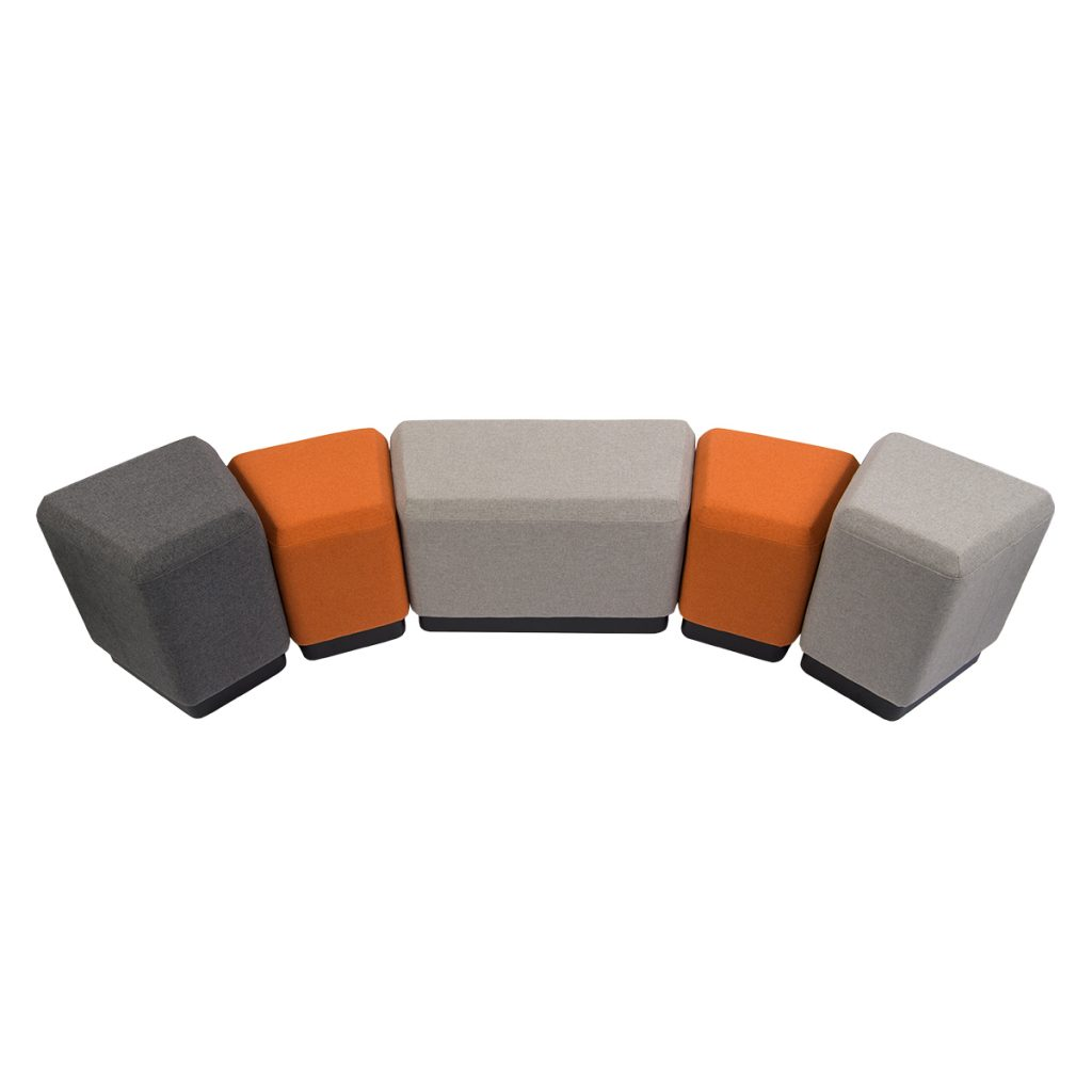 set of ottoman in gray, beige and orange