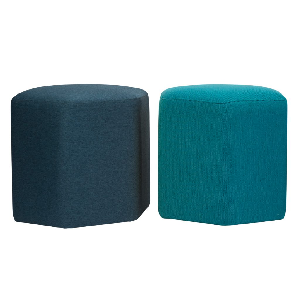 two ottomans in different colour