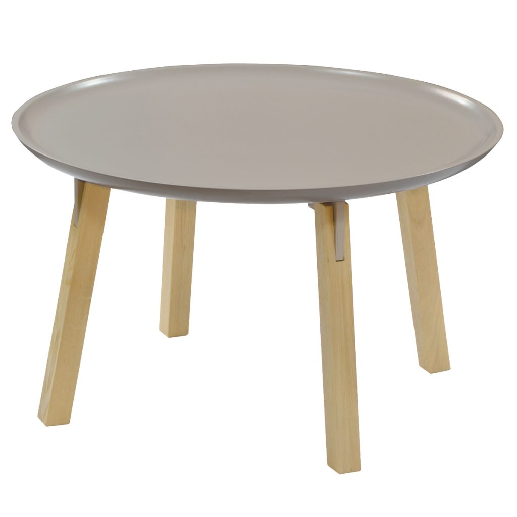 latte painted coffee table with oak legs