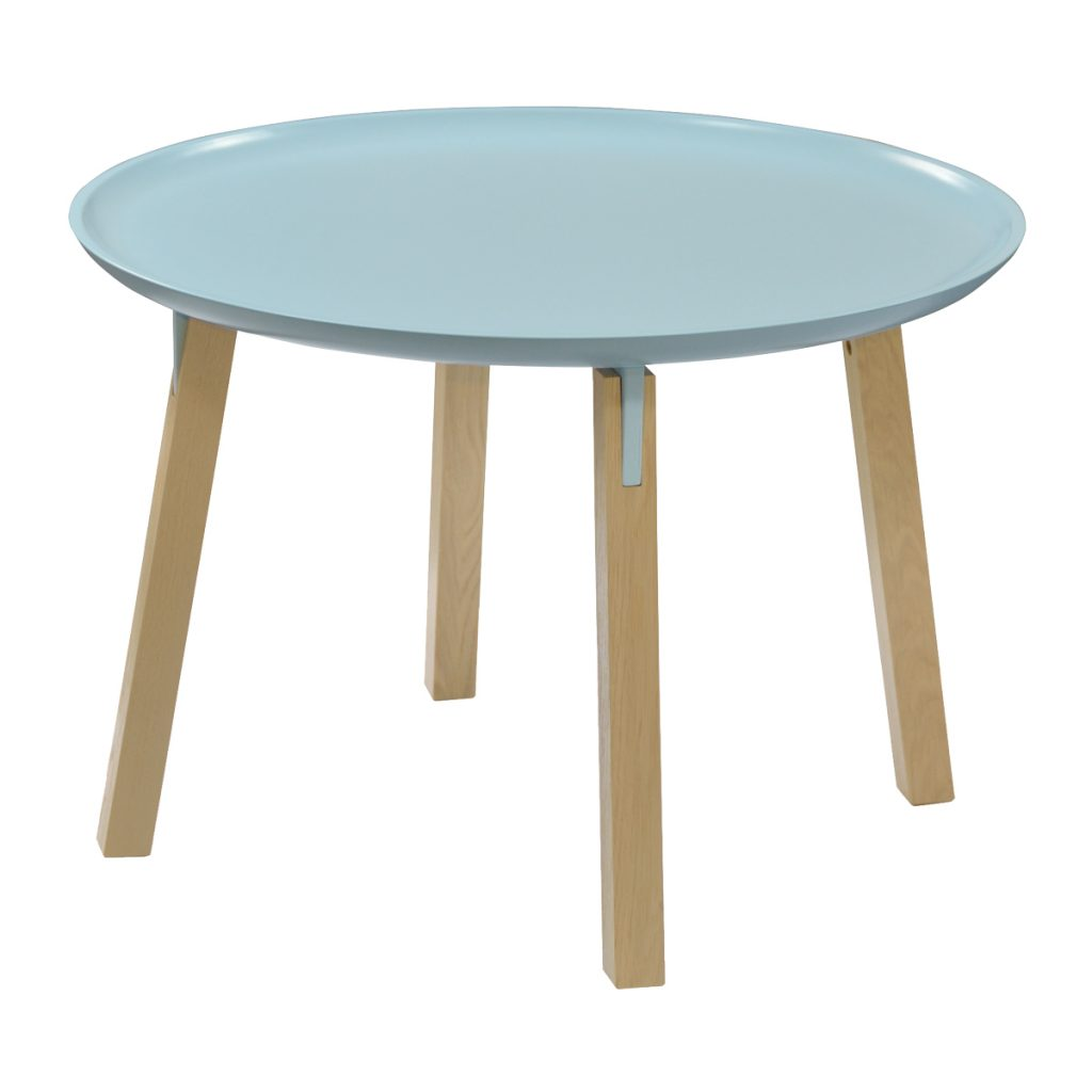 dusty blue painted coffee table with oak legs