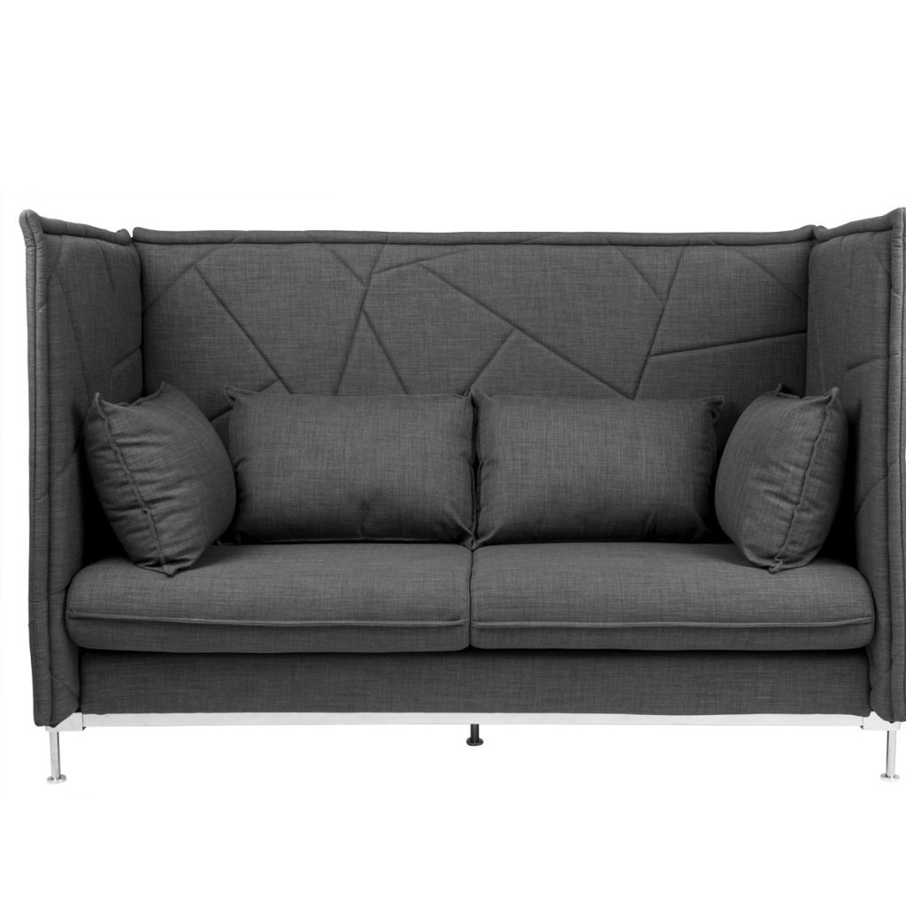 black sofa with 4 pillows