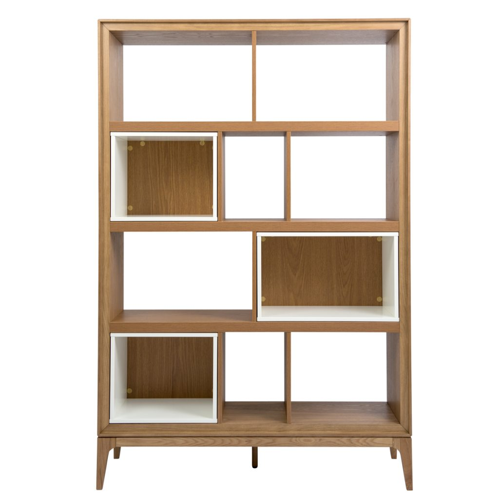 wooden book case with solid wood legs