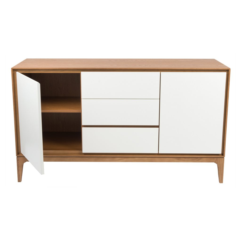 wooden buffet cabinet with white doors and drawers