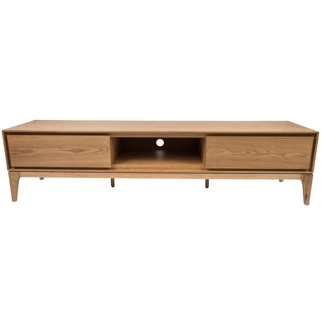 wooden tv cabinet with 2 drawers