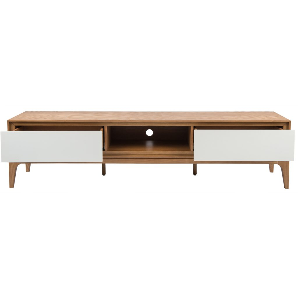 wooden tv cabinet with 2 white drawers open