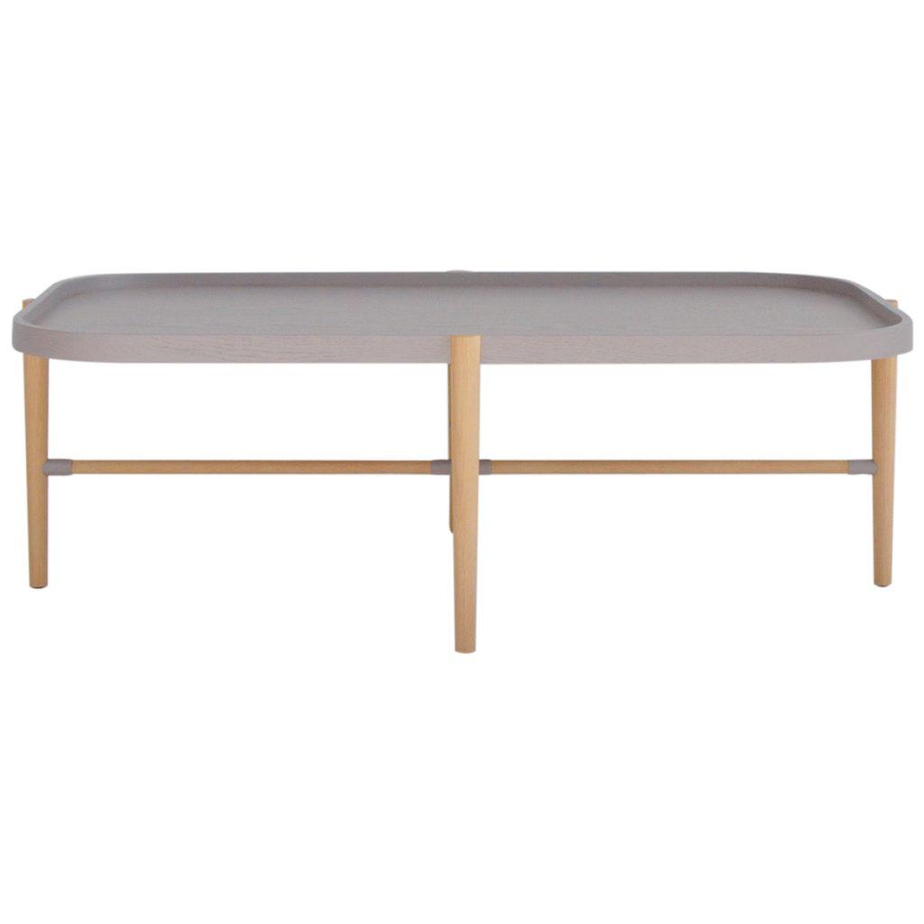 grey top coffee table with light oak legs