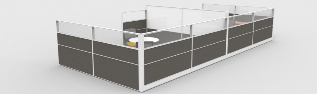 black and white office cubicle divider