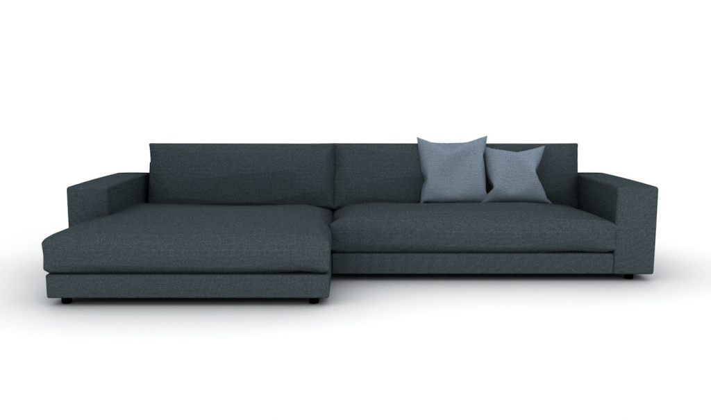 dark grey sofa with two pillows