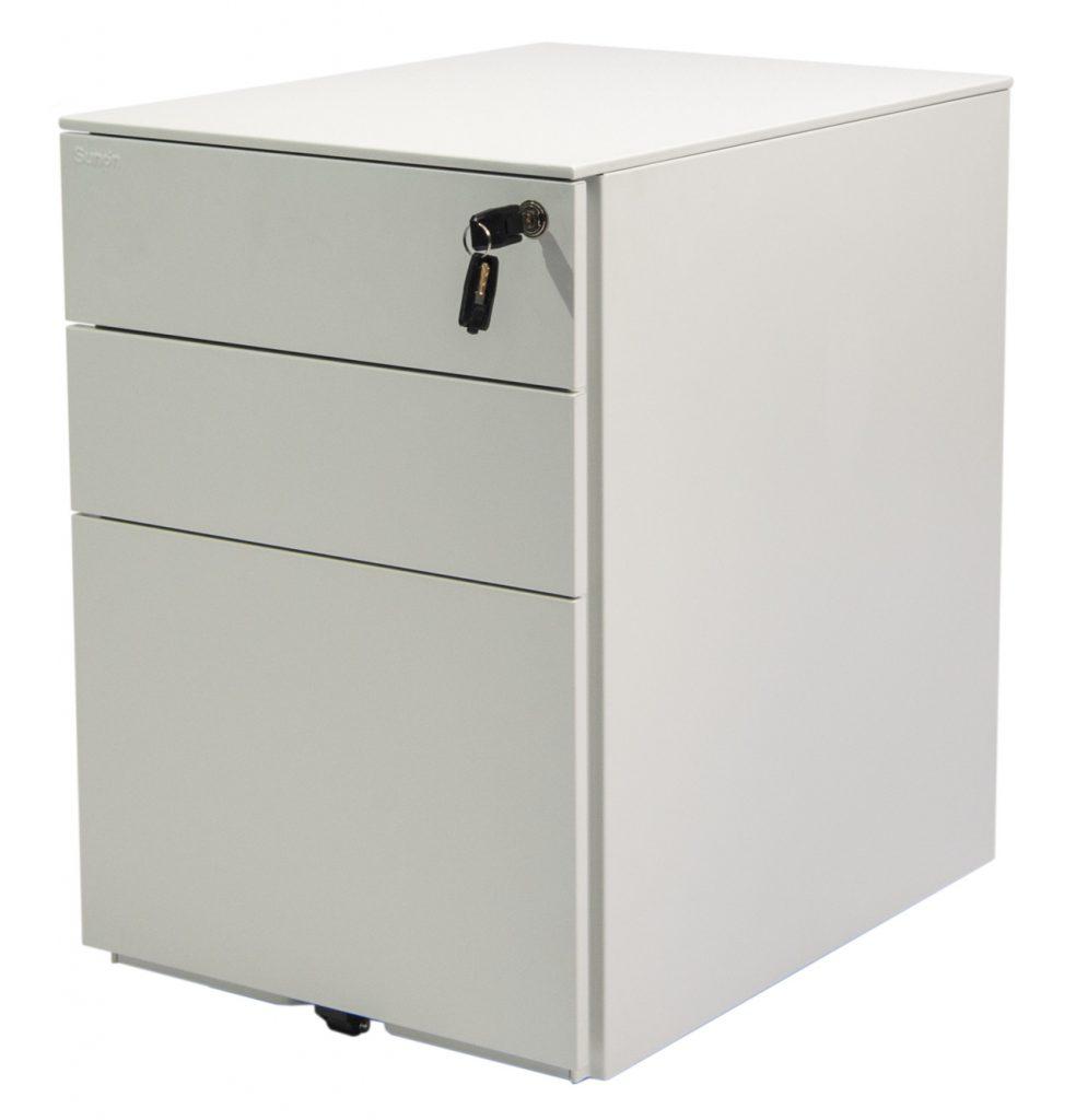 white storage with lock