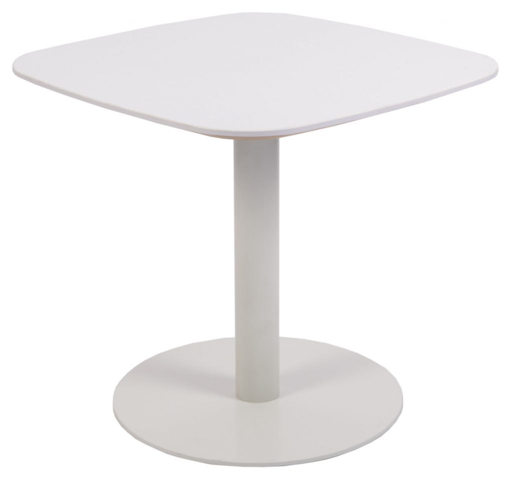 white square table with round base
