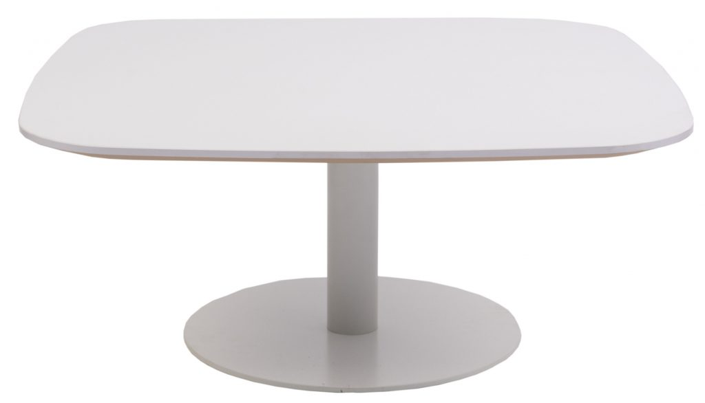 white square coffee table with round base