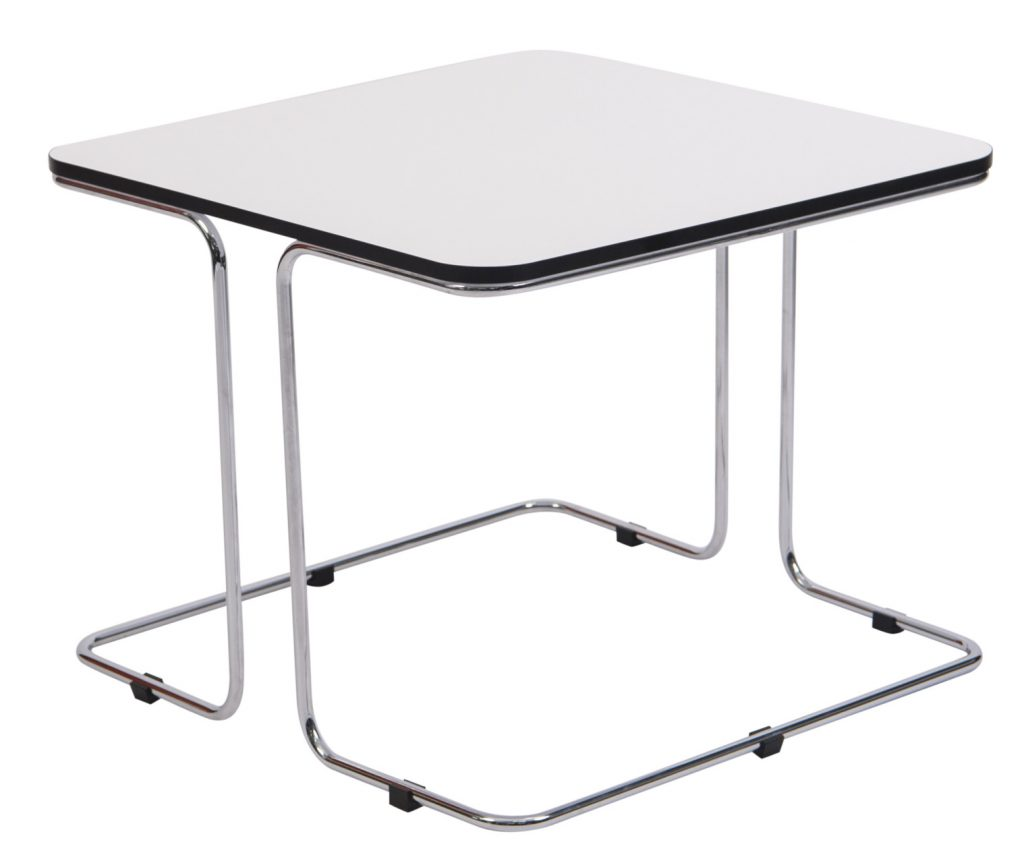white top square side table
