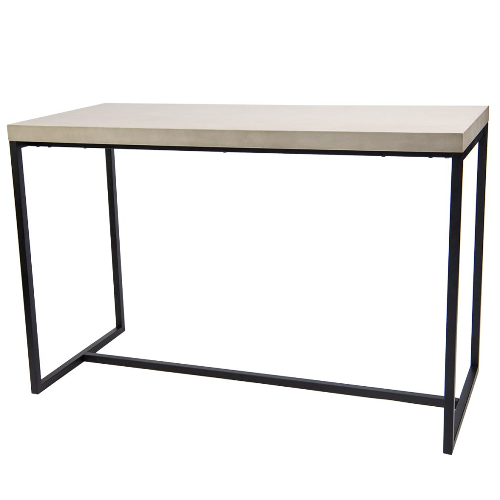 wooden bar table with black metal base