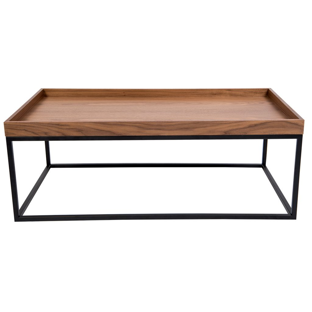 wooden coffee table with black metal base