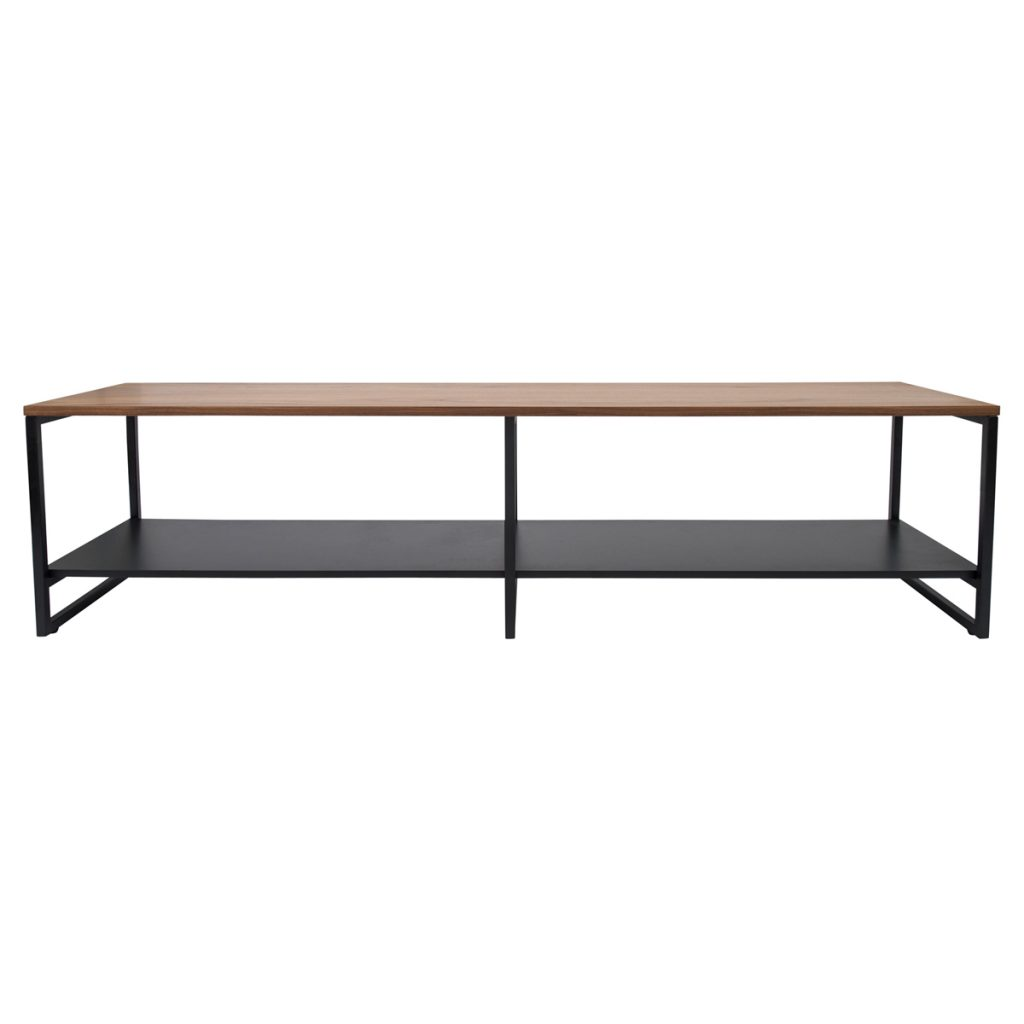 console table with black coated shelf
