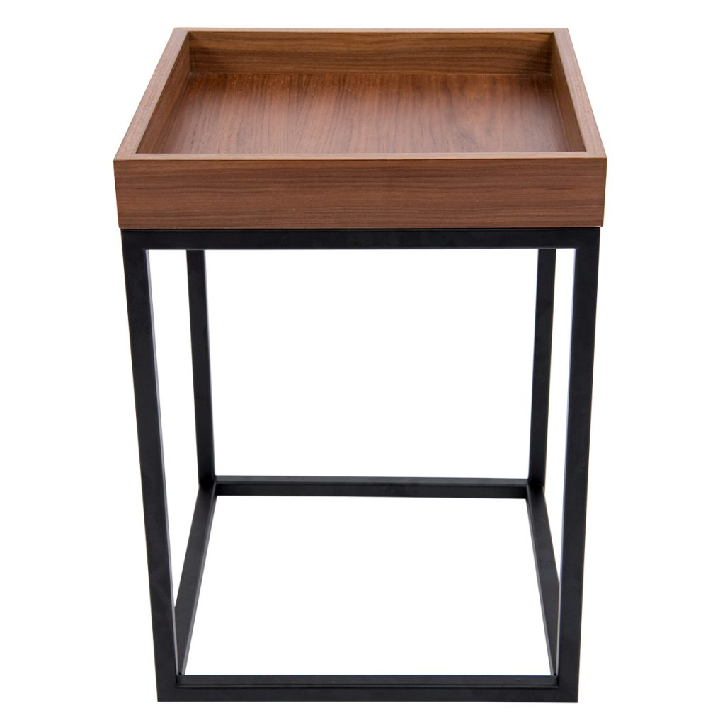 square side table with black coated base