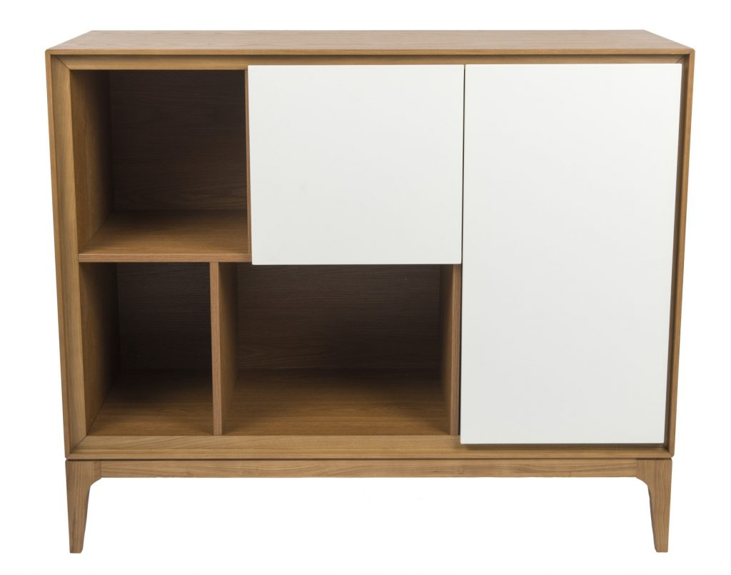 wooden cabinet with white drawers