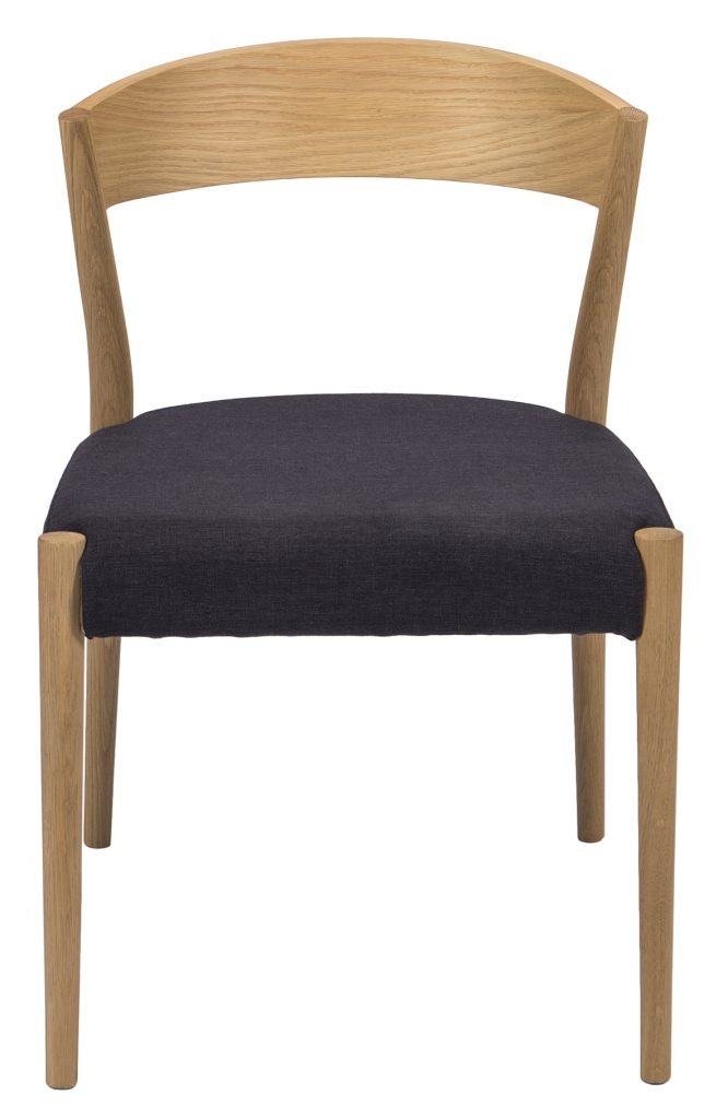 wooden dining chair with black cushion seat