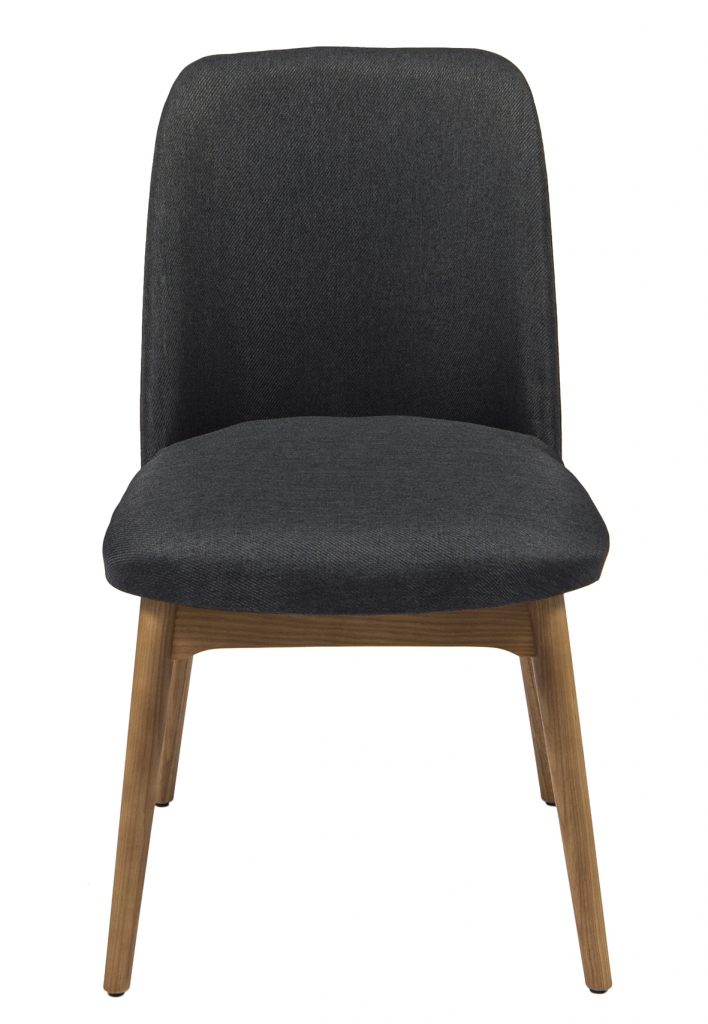 wooden dining chair with black cushion seat and back
