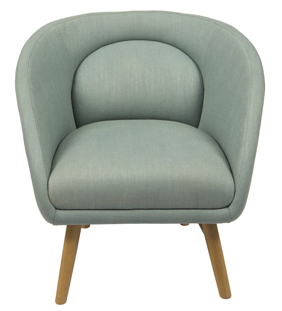 single green chair with wooden legs