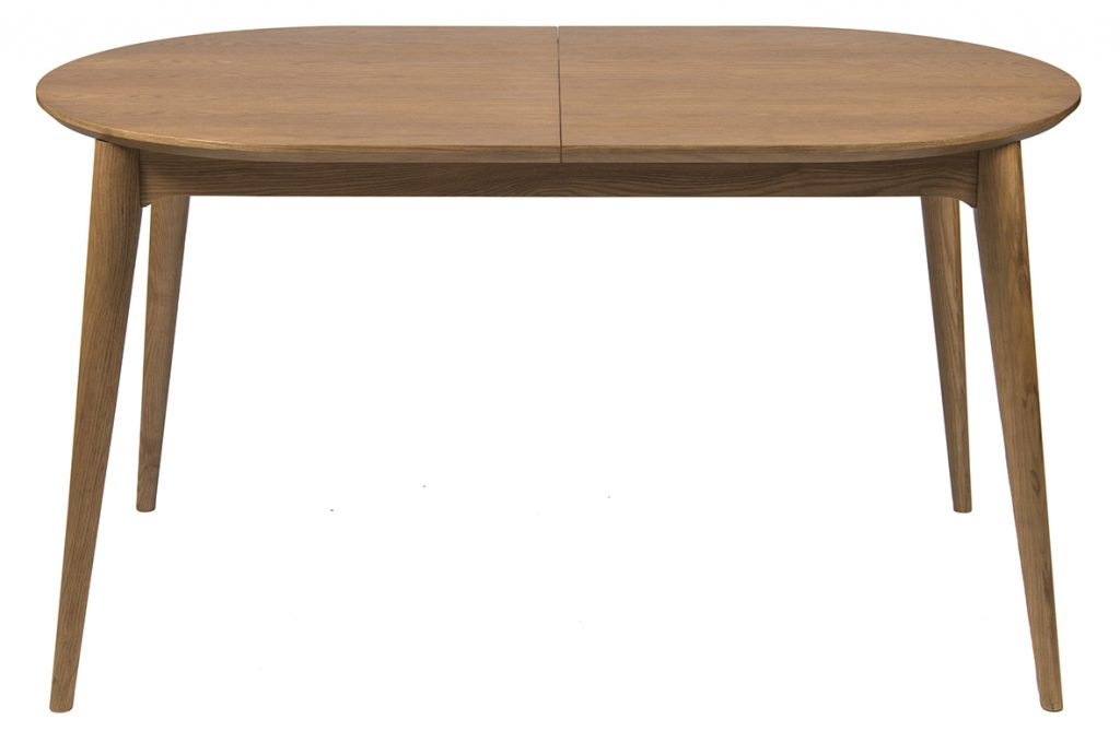 oval expandable wooden dining table