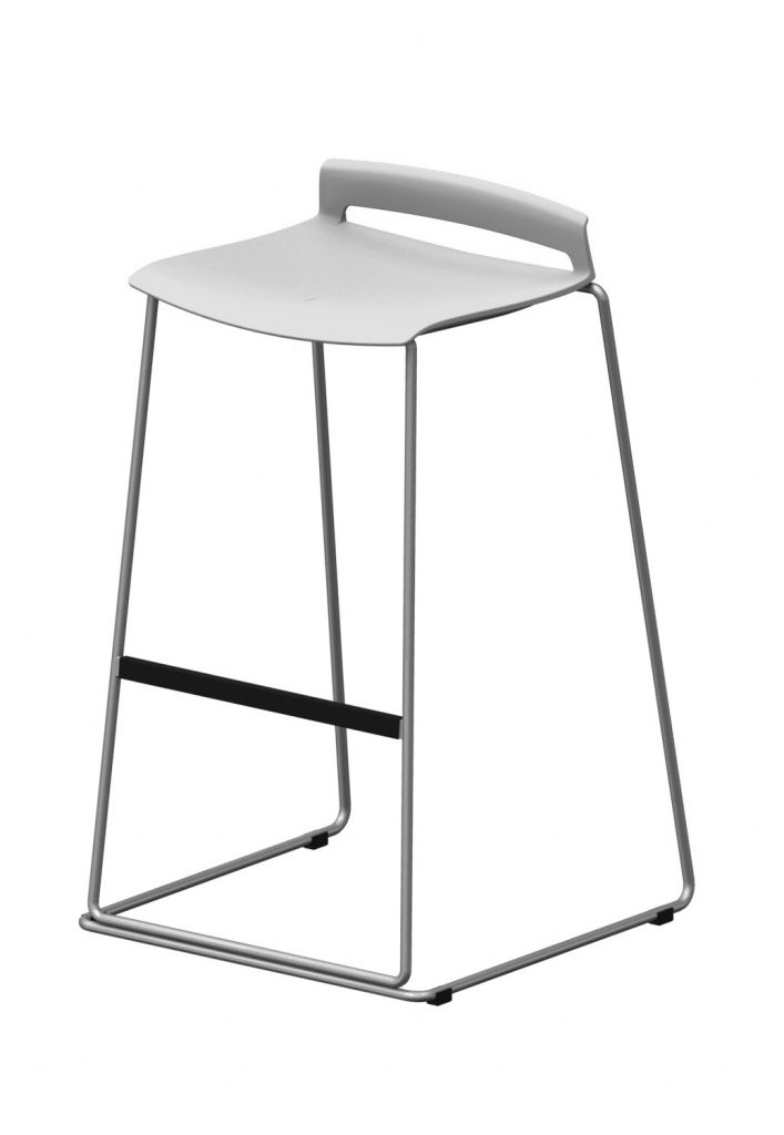 white chrome base stool