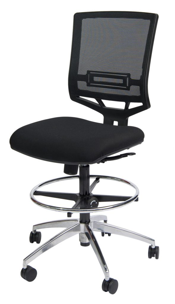 black office chair with metal base and mesh back