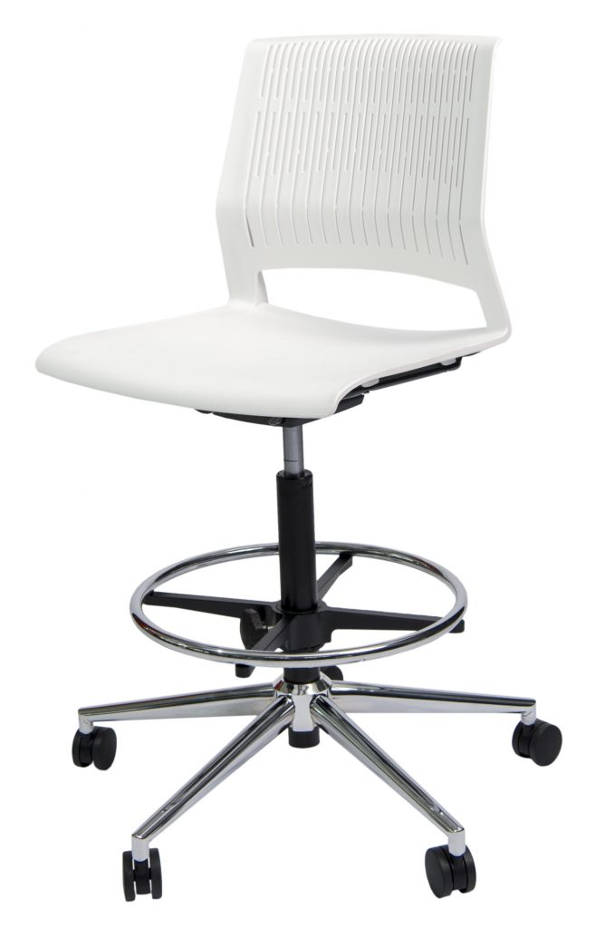 white office chair with metail base
