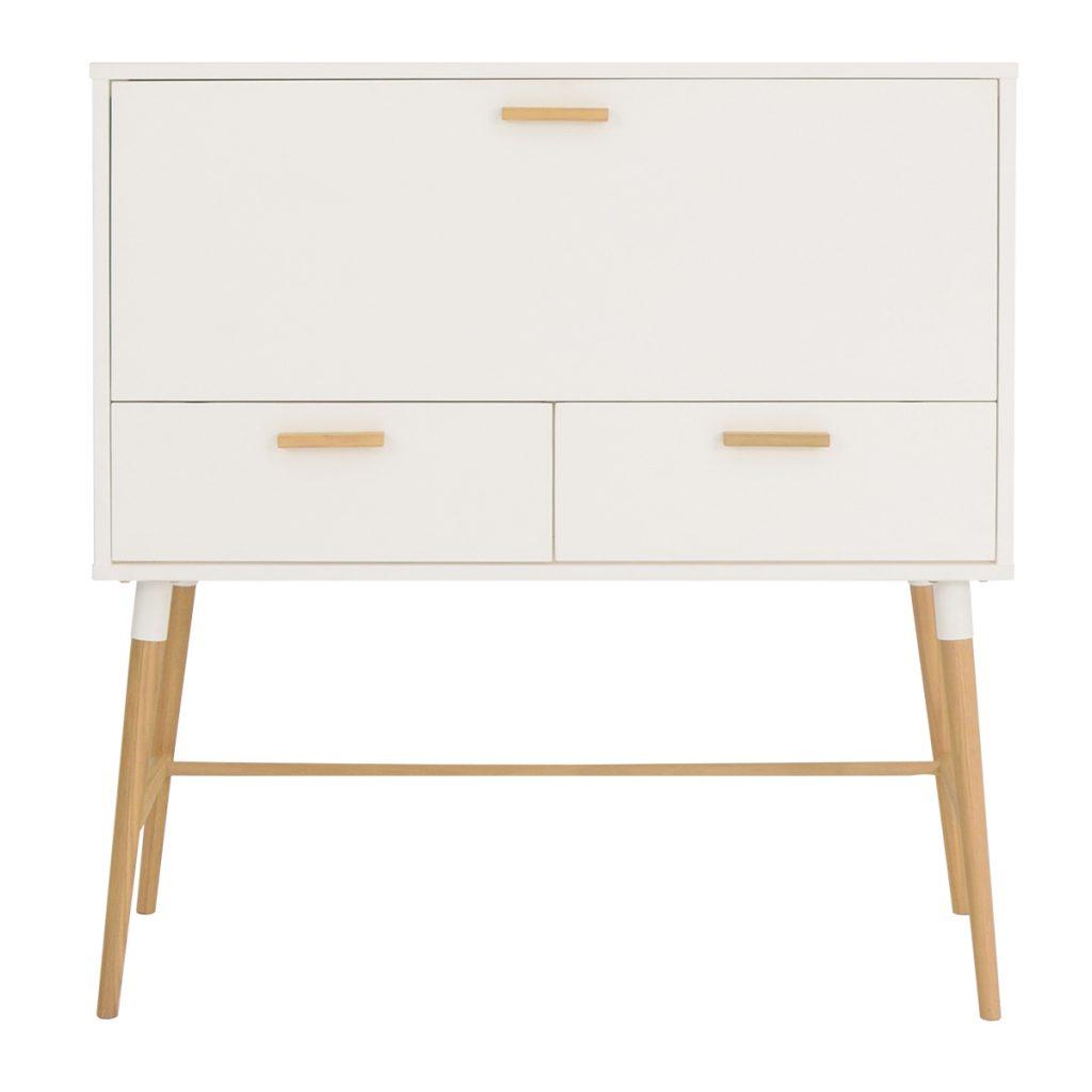 white desk storage with 4 wooden legs