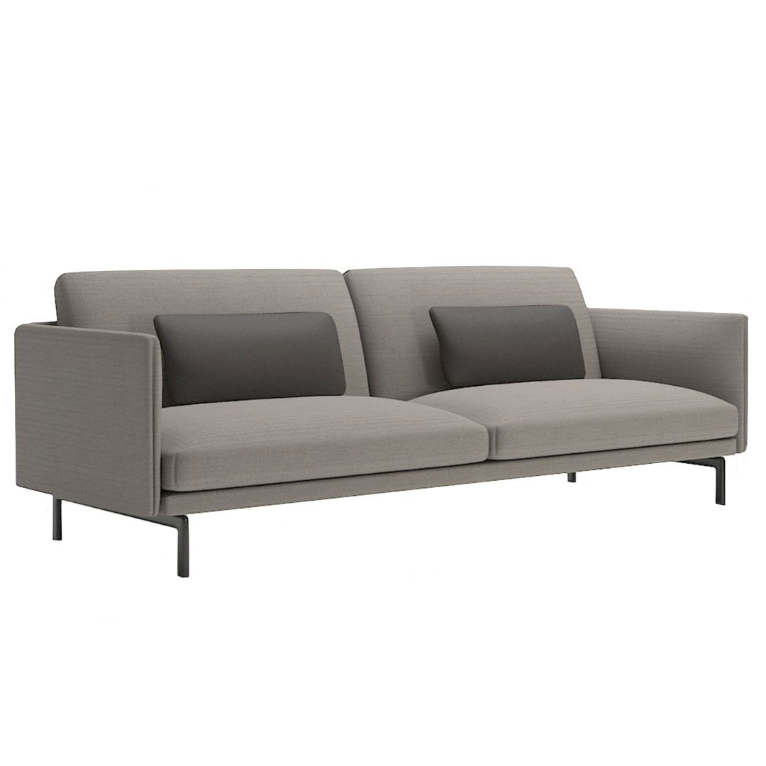 Phillips 3 Seat gray sofa with two pillows lounge furniture